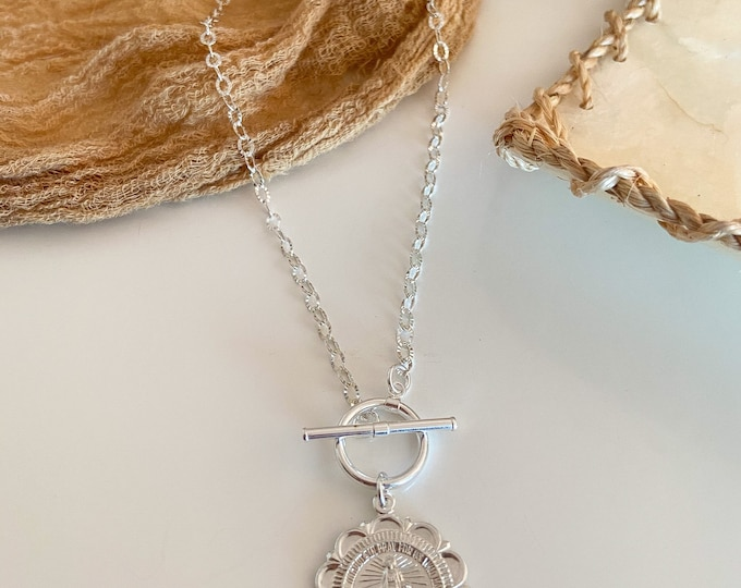 NEW! // Sterling Silver Coin Necklace St. Mary Virgin Mary Saint Christopher