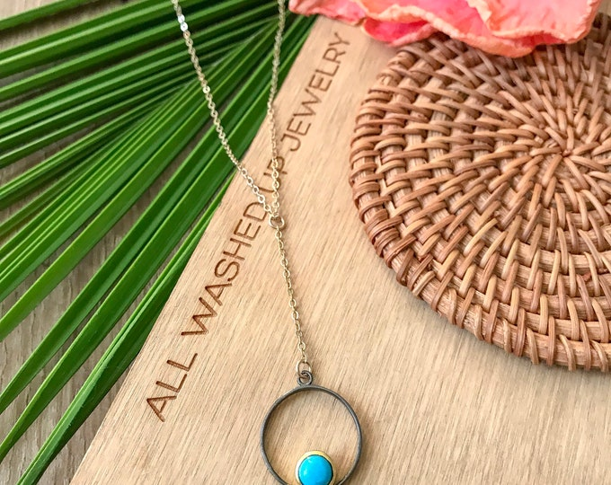 New! // Oxidized Turquoise Hoop Lariat Necklace