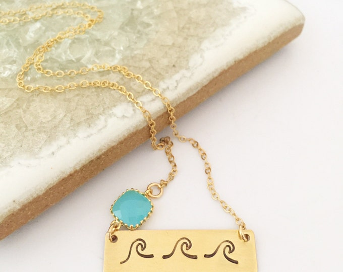 Wave Bar Gold Fill Necklace Ocean Sea Beach Wedding Bridesmaids Friend Gift Mermaid Water Boho Custom Banner Necklace Nameplate