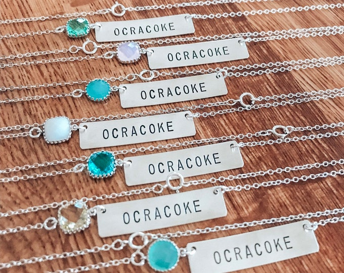 Ocracoke Outer Banks OBX Ocean Sea Beach Nags Head Stamped Bar Necklace Boho Layering Sterling Silver Wanderlust Bohemian