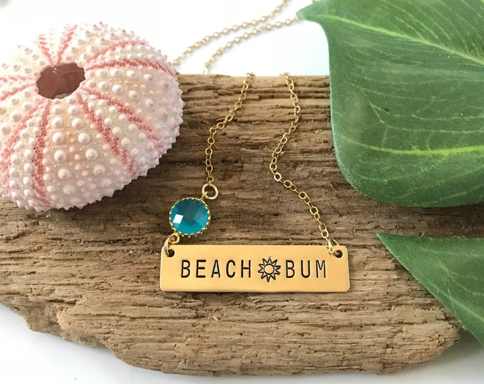 Beach Bum Stamped Gold Fill Bar Necklace Thats Life Friend Gift Ocean Coastal Nautical Beach Bridesmaids