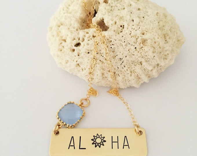 ALOHA Sunshine Gold Fill Stamped Bar Necklace Boho Ocean Sea Layering Bridesmaids Friend Gift Outer Banks Beach Custom Personalized