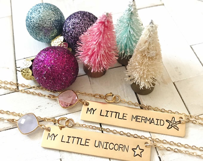 New! // Little Girls My Little Mermaid  Unicorn Necklace Gold Fill