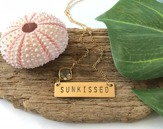 SUNKISSED Stamped Bar Necklace Nameplate Bridesmaids Beach Wedding Friend Gift Mothers Day Nautical Sea Ocean Anchor