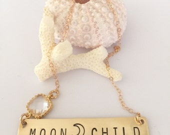 MOONCHILD Stamped Gold Fill Bar Necklace