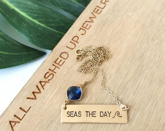Seas The Day Stamped Gold Fill Bar Necklace