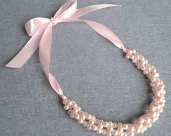 light pink pearl necklace,pearl necklace,pink pearl necklace,Ribbon Ties necklace,Glass Pearls,Wedding necklace.bridesmaid necklace,Jewelry