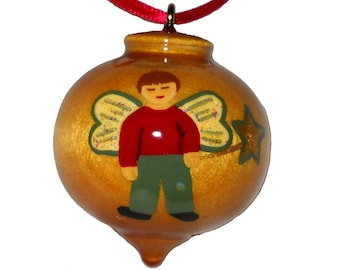 Angel Ornament, Wooden Christmas Ornament for Boys