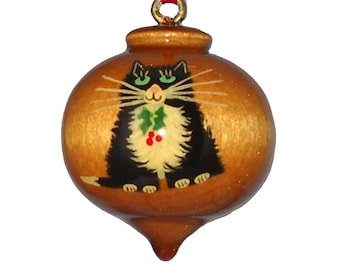 Personalized Cat Ornament, Black and White Kitty Christmas Decoration