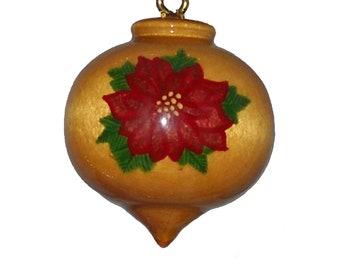 Poinsettia Ornament, Wooden Christmas Tree Decoration