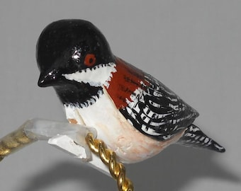 Chestnut-backed Chickadee Christmas Ornament, Hand Carved Wood Bird Decoration