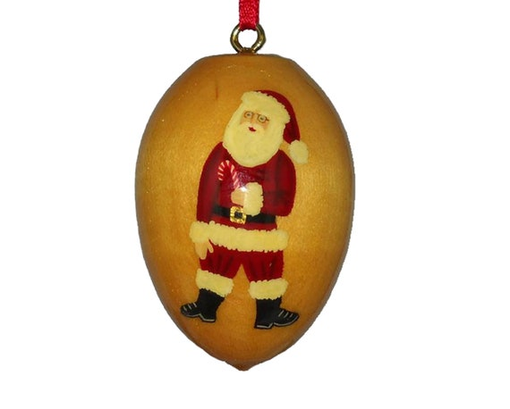 Wood Christmas Ornament Old Fashioned Santa Claus Hand Painted Decoration