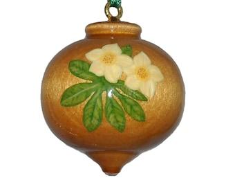 Wood Christmas Ornament, Hand Painted Wooden Decoration, Hellebore, Lenten Rose