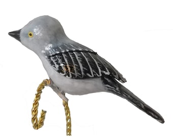 Northern Mockingbird, Carved Clip-on Christmas Ornament