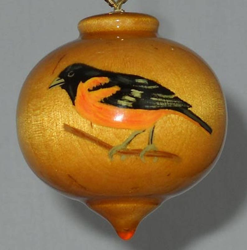 Maryland Symbol Baltimore Oriole Ornament Wooden Christmas Decoration