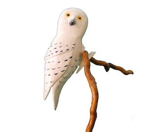 Snowy Owl Christmas Ornament, Carved Clip-on Bird, Symbol of Quebec