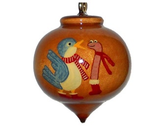 Personalized Best Buddy Ornament,  Christmas Decoration for Couples and Friends, Varnished Wooden Bauble
