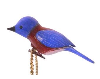 Western Bluebird, Hand Carved Wooden Clip-on Bird, Christmas Ornament
