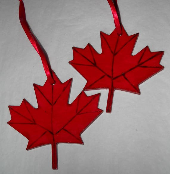 Canadian Symbol Two Maple Leaf Christmas Ornaments Bright