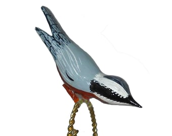 Red-breasted Nuthatch, Wooden Christmas Ornament, Carved Clip-on Decoration