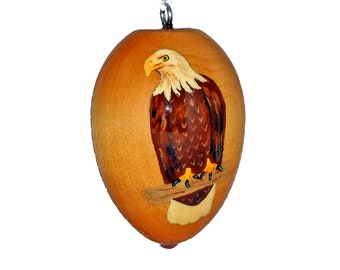 Bald Eagle Ornament, Hand Painted  Bird, Wooden Christmas Decoration