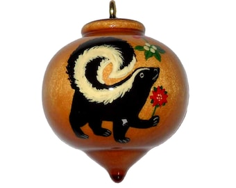 Skunk Ornament, Christmas Tree Decoration,  Stinker with Mistletoe and Poinsettia