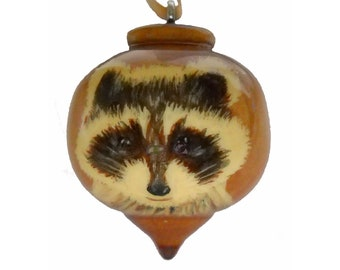 Raccoon Christmas Ornament, Hand Painted Woodland Decoration