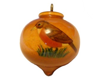 Personalized Robin Ornament, Hand Painted Decoration, State Bird of Connecticut, Michigan and Wisconsin