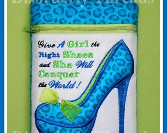 """The Right Shoes High Heel  Zippered Bag!   6x8.5"""" Pes Dst Exp Hus Jef Vip Xxx Formats ITH In The Hoop Zippered Bag Machine Embroidery File"""