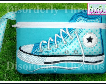 High Top Shoe Zippered Bag! 6x8.5 **xxx vip pes jef hus exp dst VP3 Formats** ITH In The Hoop Zippered Bag Machine Embroidery File