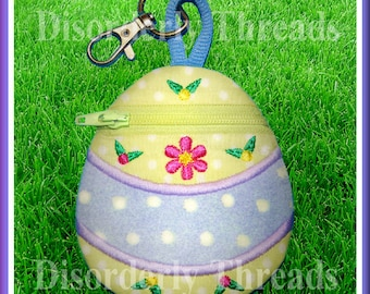 """Easter Egg """"2"""" Zippered Bag! 4x4""""  **xxx vip  pes jef hus exp dst Formats** ITH In The Hoop Zippered Bag Machine Embroidery File"""