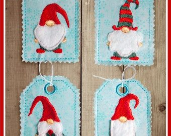 """Christmas Gnomes Tags Set 4x4""""  5x7"""" hoops  **xxx vip  pes jef hus exp dst VP3 Formats**  ITH In The Hoop Tags Machine Embroidery File"""