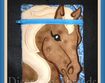 """Horse Zippered Bag! 5x7""""  **xxx vip  pes jef hus exp dst Formats**  ITH In The Hoop Zippered Bag Machine Embroidery File"""