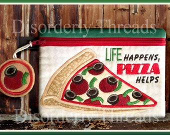 """Pizza Zippered Bag 5x7"""" **xxx vip pes jef hus exp dst vp3 Formats** ITH In The Hoop Zippered Bag Machine Embroidery File"""