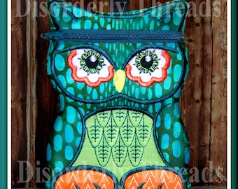 """OWL Zippered Bag!  5x7"""" Pes Dst Exp Hus Jef Vip Xxx Formats ITH In The Hoop Zippered Bag Machine Embroidery File"""
