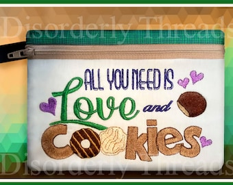 Love and Cookies Scouts Zippered Bag! 6x8.5 *xxx vip pes jef hus exp dst VP3 Formats** ITH In The Hoop Zippered Bag Machine Embroidery File