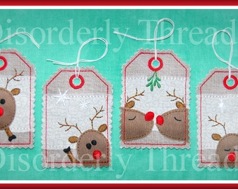 """Christmas Reindeer Tags Set 4x4""""  5x7"""" hoops  **xxx vip  pes jef hus exp dst Formats**  ITH In The Hoop Tags Machine Embroidery File"""