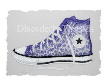 "FLAT High Top Shoe Applique Embroidery Design   6.89x4.86"" Pes Dst Exp Hus Jef Vip Xxx Formats  Machine Embroidery File"