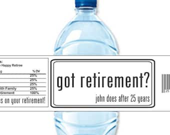 Retirement Labels, Water Bottle Labels, Custom Labels, Waterproof Labels, Retirement Party, Retirement Stickers (Set of 24)(Y589)