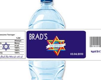 Bar Mitzvah Favors, Custom Water Bottle Label, Bar Mitzvah decor, Bat Mitvah decor, bar mitzvah favors, Water Sticker  (Set of 24)(Y415)