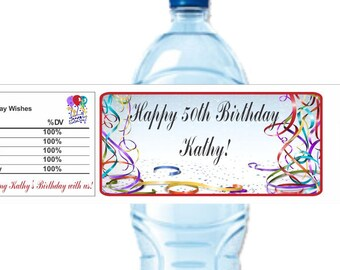 Birthday Streamers, Birthday Stickers, Water Bottle Label, 50th Birthday Party, Waterproof label, Custom Water Labels (Set of 24) (Y565)