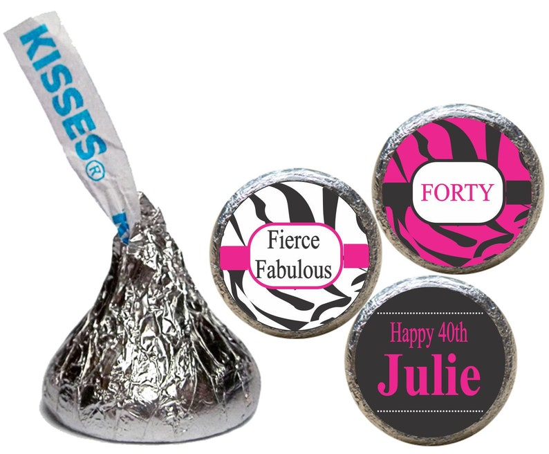 Fierce Fabulous Forty Zebra Print Kiss Stickers Chocolate Etsy