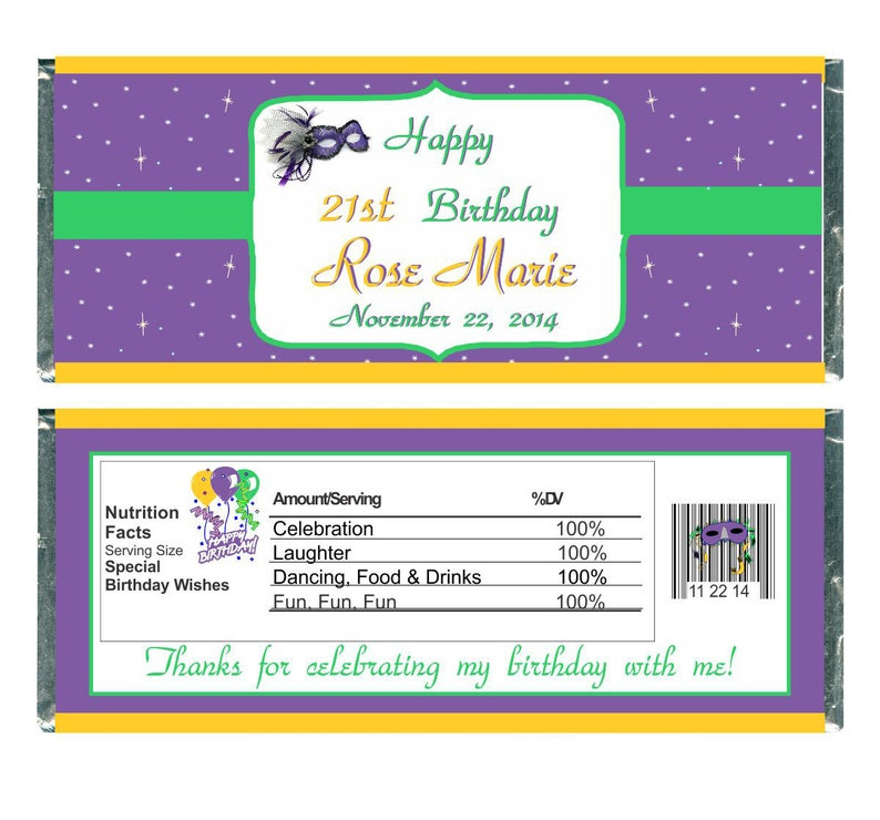 108 Personalized Mardi Gras Hershey Kiss Candy Labels Wrappers