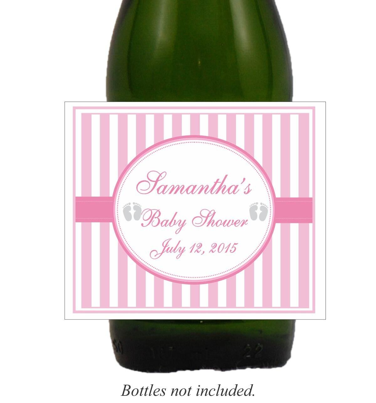 Pink Stripes Shower Blue Stripes Shower Wine Labels Baby | Etsy