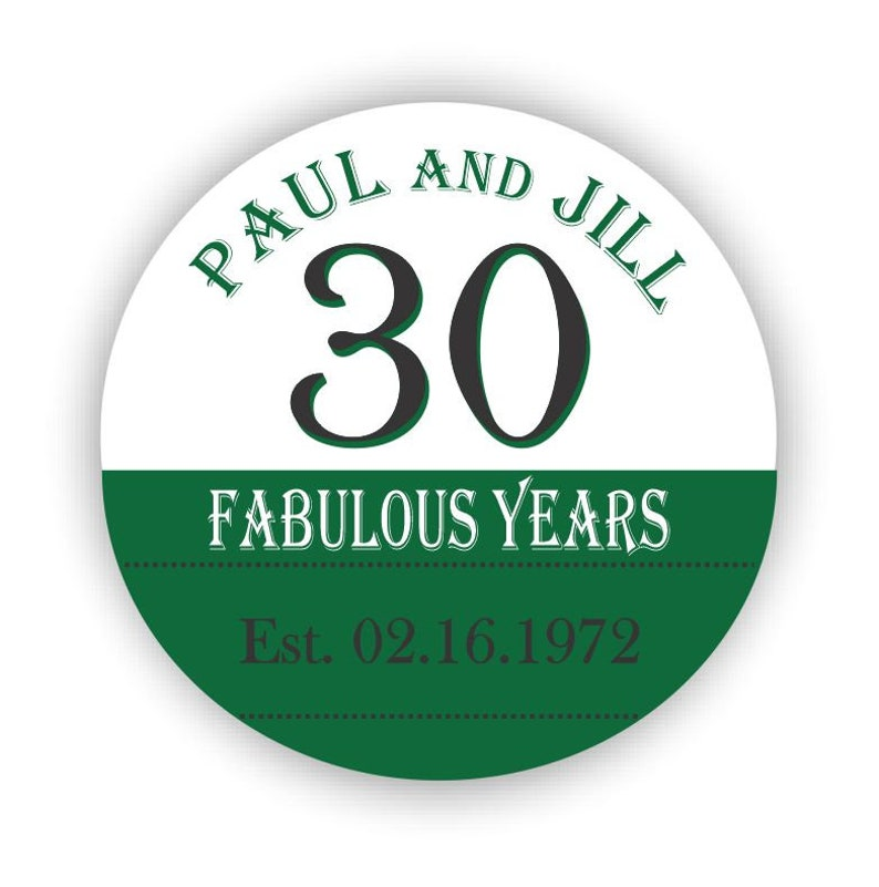 3 Stickers 30th Anniversary Round Labels 30th Dinner Party Milestone Anniversary Set of 24 2 Stickers RA06 30th Anniversary Party