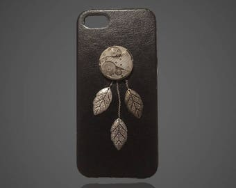 OOAK iPhone 5/5S Steampunk Dream Catcher Faux Leather Case