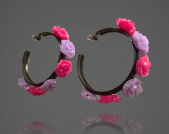 OOAK Frida Kahlo Inspired Flower Hoop Earrings