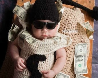 Crochet bank robber money sack cocoon newborn photo prop