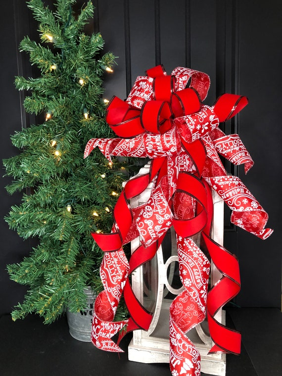 Lantern  Bow Christmas Decorations Christmas Mailbox Bow Mantle Christmas Bow Red and Silver Christmas Tree Topper Bow Holiday Decor