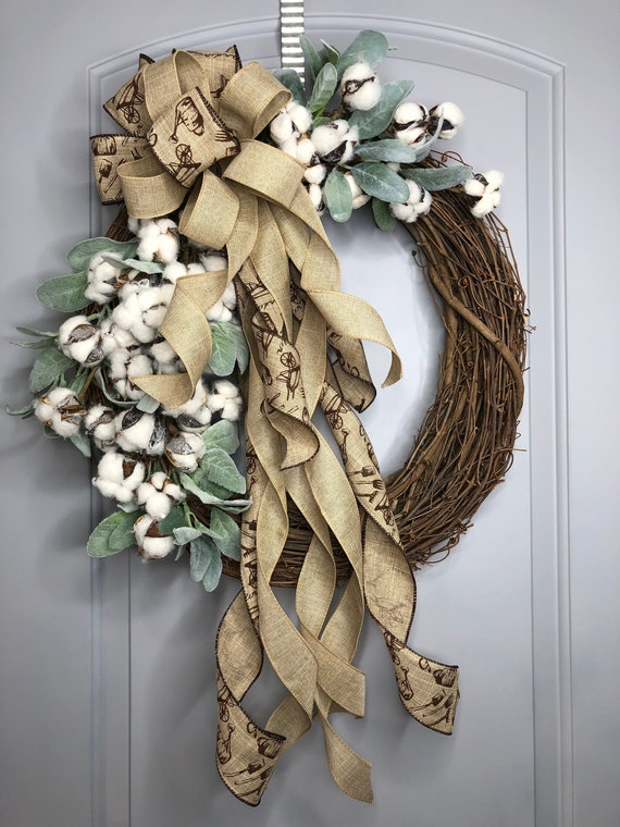 Wreaths Cotton Wreath Farmhouse Cotton Wreath Farmhouse Etsy